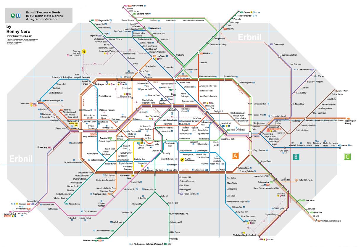 Benny Neros Anagram Version des S- und U-Bahn-Netzplans von Berlin