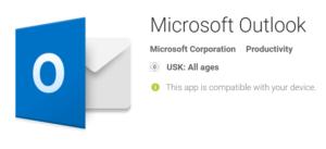 Screenshot aus dem Playstore von Outlook für Android